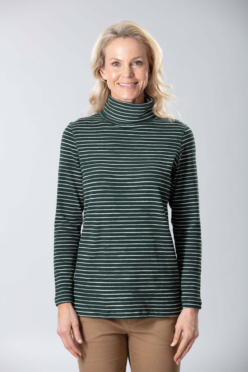 W2038648 - Cotton Yarn Dyed Stripe 190G Forest Green