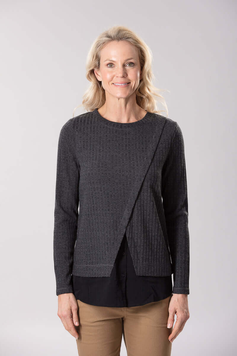 W2038651 - Stretch Rib Knit Charcoal