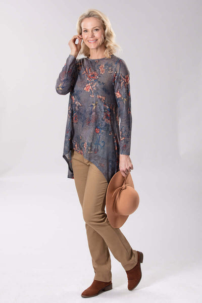 W2048642 - Printed Stretch Knit 140G Charcoal Flower