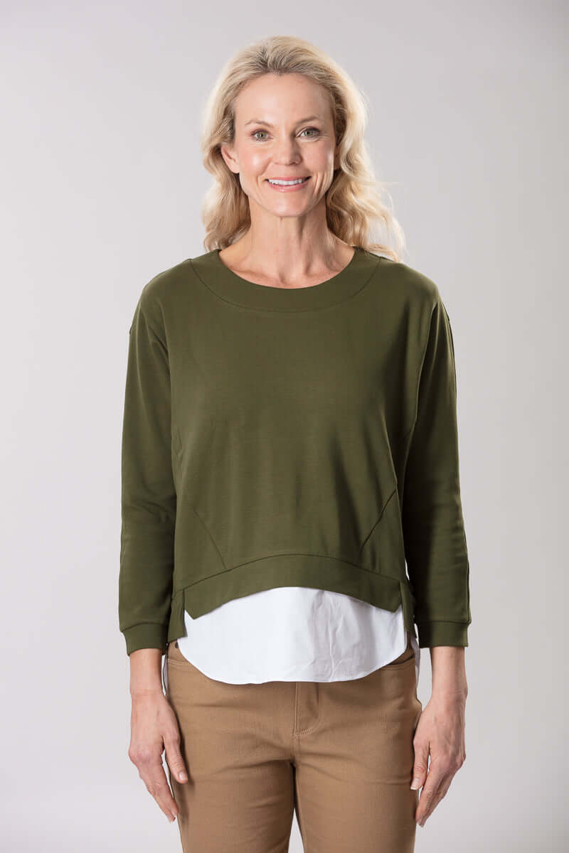 W2048650 - Athleisure Knit 160G Olive/White
