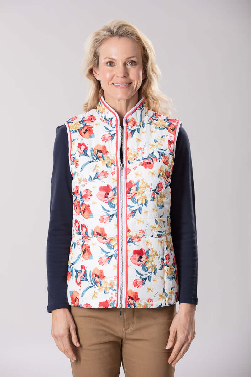 W2067641 - Printed Vest Snow Flower