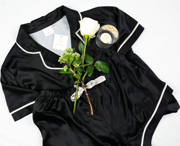 Anastasia - Black 2 Piece Pyjama Short Sleeve