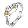 Ring, Adoring 925 Silver Personalized Ring -  2 Names & Birthstones