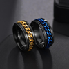 Ring,  Titanium Stainless Steel Chain Spinner Ring For Men
