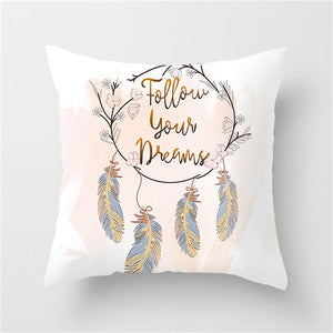 Cushion Cover, Colourful Feather Style