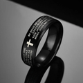 Ring, Stainless Steel Black Cross Ring for Men with Bible Scriptures