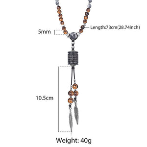 Necklace, Splendid Natural Beaded Stone Long Charm Necklace