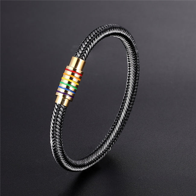 Bracelet, Pride Rainbow Black/White Genuine Braided Bracelet