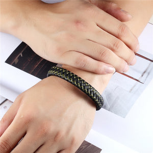 Bracelet, Punk Black Braided Geunine Leather Bracelet