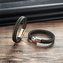 Load image into Gallery viewer, Bracelet, Punk Black Braided Geunine Leather Bracelet