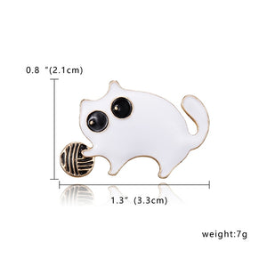 Brooch, Zinc Alloy Cute Deer Cat Owl Dog Frog Seahorse Animal Rhinestone Painting Oil Brooch