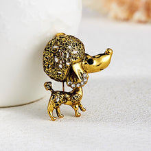 Load image into Gallery viewer, Brooch, Zinc Alloy Cute Deer Cat Owl Dog Frog Seahorse Animal Rhinestone Painting Oil Brooch