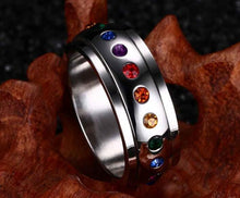 Load image into Gallery viewer, Ring, Pride Rainbow Colourful Stainless Steel Wedding Band Ring