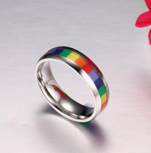 Load image into Gallery viewer, Ring, Pride Colourful  LGBT Stainless Steel Wedding Band Ring