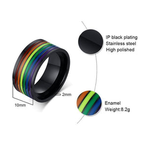 Ring, Pride Rainbow Colourful Stainless Steel Wedding Band Ring