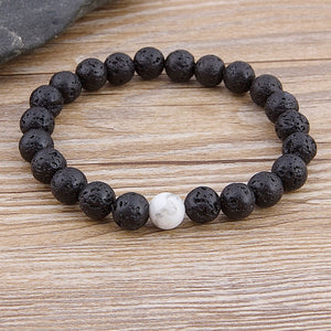 Bracelet, Modern Natural Tiger Eye & Lava Stone Beaded Bracelet
