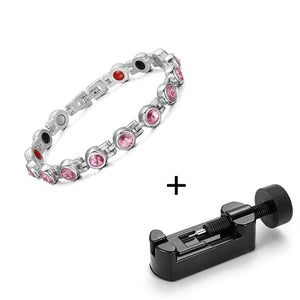 Magnetic Bracelet, Stainless  Steel Zircon Magnetic FIR Healthy Bracelet & Bangle for