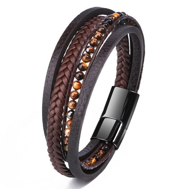 Bracelet,  Chic Stainless Steel Lava Stone Bracelet With Steel Magnetic Buckle