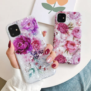 iPhone Case, Retro Flower Phone Case For iPhone 6 7 8 Soft IMD Full Body Back Cover