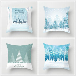 Fuwatacchi Deer Tree Pillows Cover Winter Style Cushion Cover Christmas Pillow Case Snow Throw Pillows Home Decor for Sofa Car