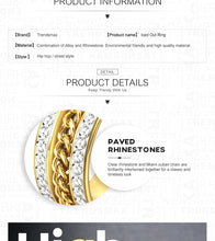 Load image into Gallery viewer, Ring, Iced Out Rhinestone Curb Link Chain Ring for Men