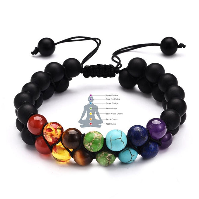 Bracelet, 7 Chakra Adjustable Natural Stone Woven Rope