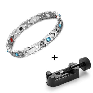 Magnetic Bracelet, Stainless Steel Link Chain Charm Magnetic Germanium Far Infrared Bracelet
