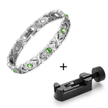 Load image into Gallery viewer, Magnetic Bracelet, Stainless Steel Link Chain Charm Magnetic Germanium Far Infrared Bracelet