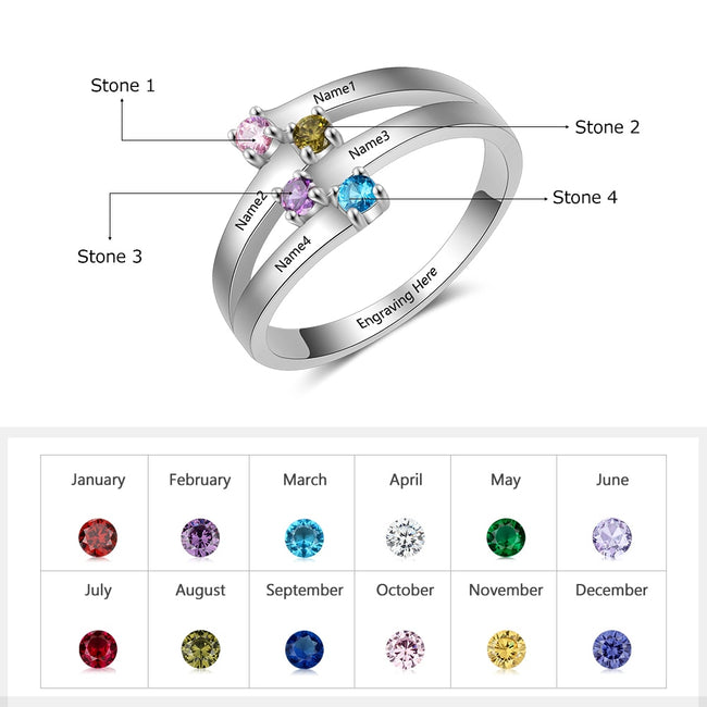 Ring, Bonding 925 Sterling Silver Personalized Ring - 4 Names & Birthstones