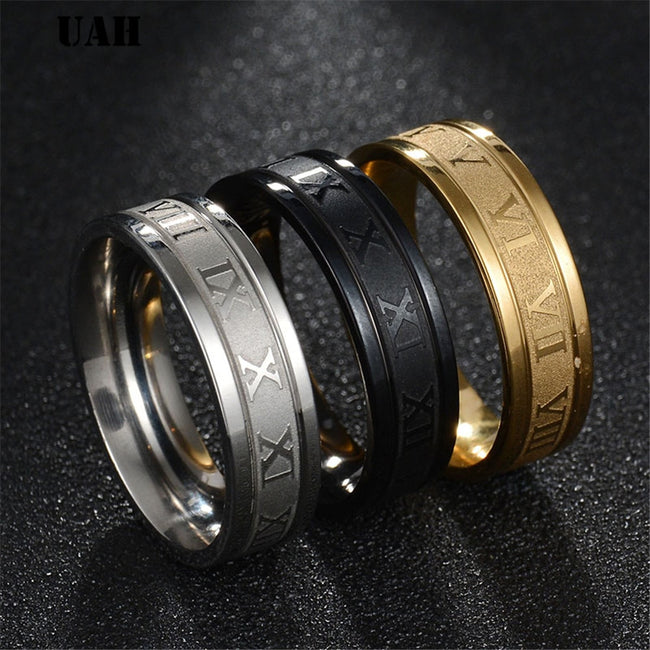 Ring, Roman Numerals Stainless Steel Wedding Band Ring