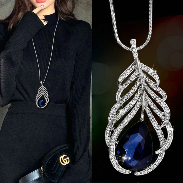 Pendant,  Dazzling Blue Opal Rhinestone Pendant and Long Chain Necklace