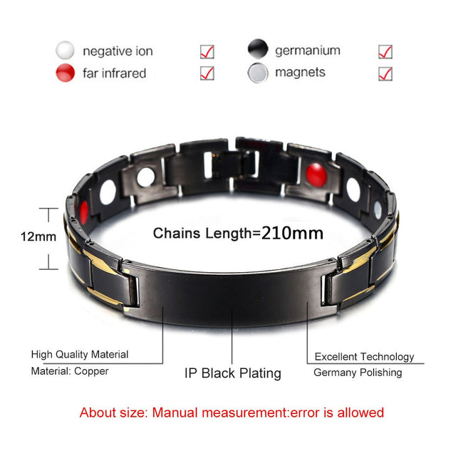 Magnetic Bracelet, Black Energy Balance Copper Chain Link Germanium Magnetic Bracelet