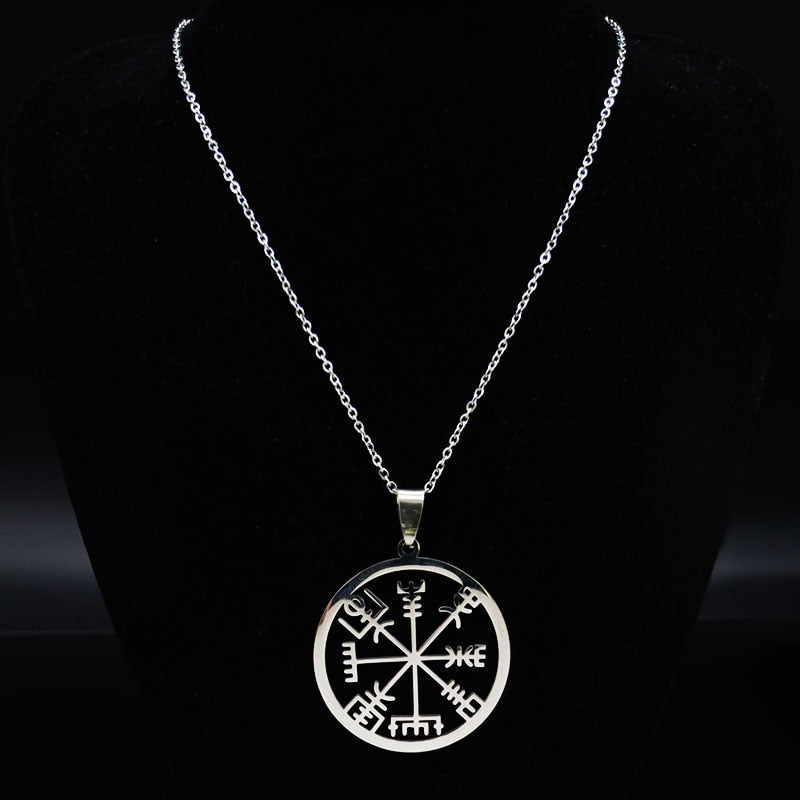 Pendant, Classic Viking Vegvisir Compass Nordic Pendant & Stainless Steel Chain Necklace