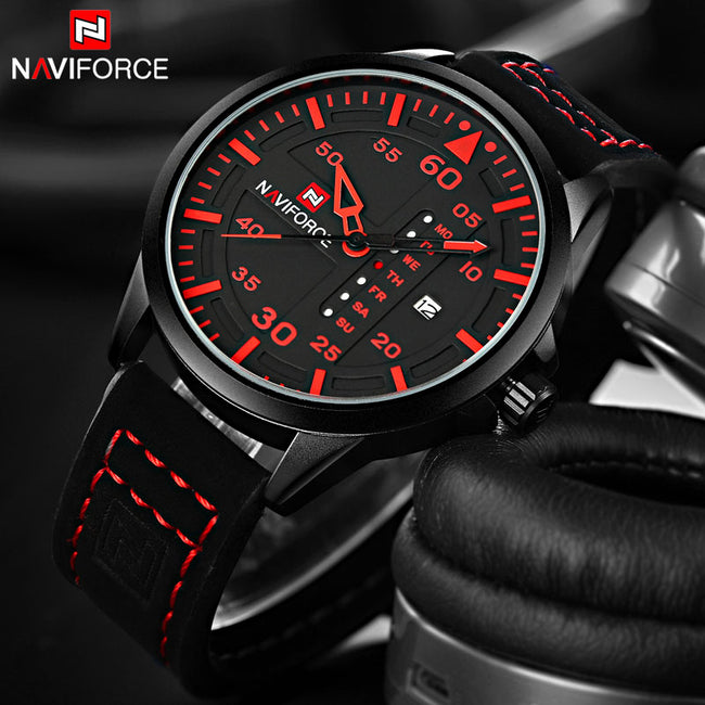 Watch, Trendy Sports Quartz Leather Watch for Men