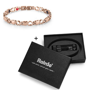 Magnetic Bracelet, Trendy Healthy Energy Hearted Design Stainless Steel Bracelet