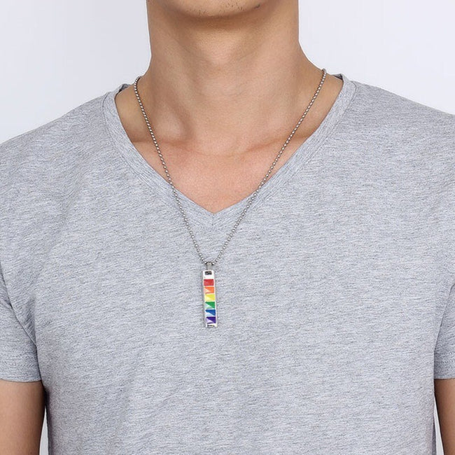 Pendant, Pride Equality Rainbow Dog Tag Stainless Steel Pendant & Chain Necklace for Love Beyond Gender