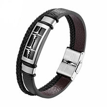 Load image into Gallery viewer, Bracelet, Affectionate Multi Layer Black Leather Bracelet for Lovers