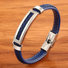 Load image into Gallery viewer, Bracelet, Lucid Stainless Steel Blue Leather Unisex Bracelet