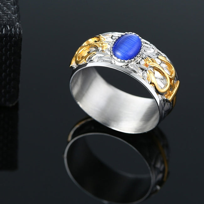Ring, 10mm Trident Blue Solitaire Big Opal Ring for Men