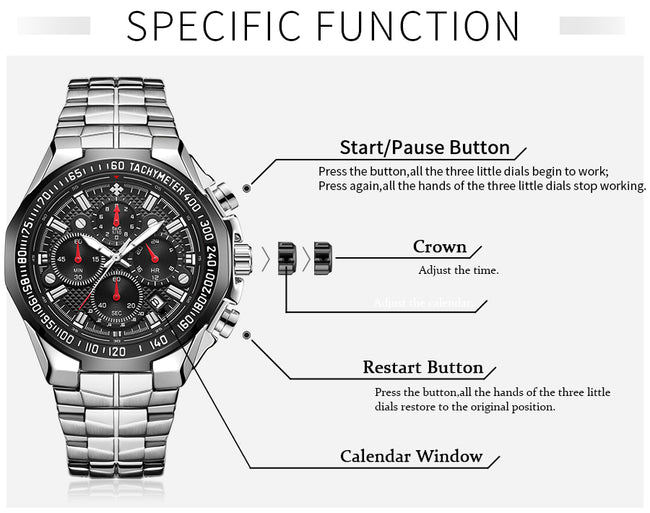 Watch, Top Black Sport Chronograph Watch for Men