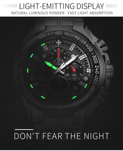 Watch, Top Luxury Black Sport Chronograph Watch for Men