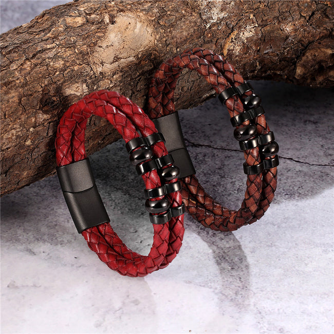 Bracelet, Vintage Retro Braided Genuine Leather