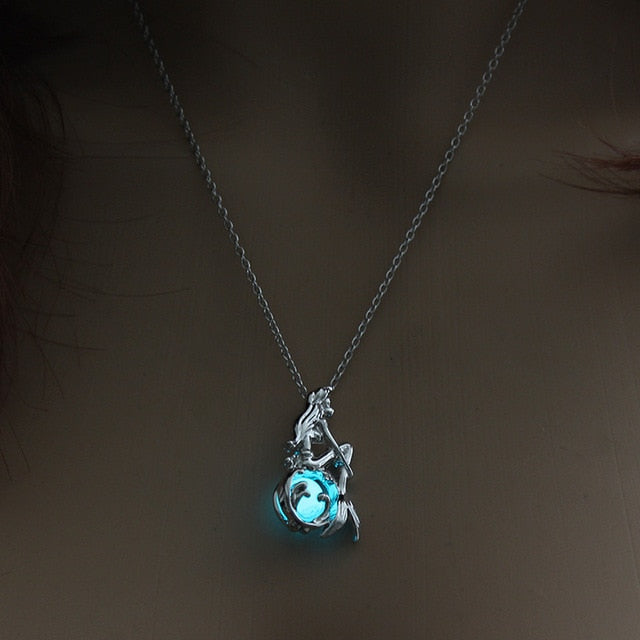 Necklace, Luminous New Moon Pendant with Chian Necklace