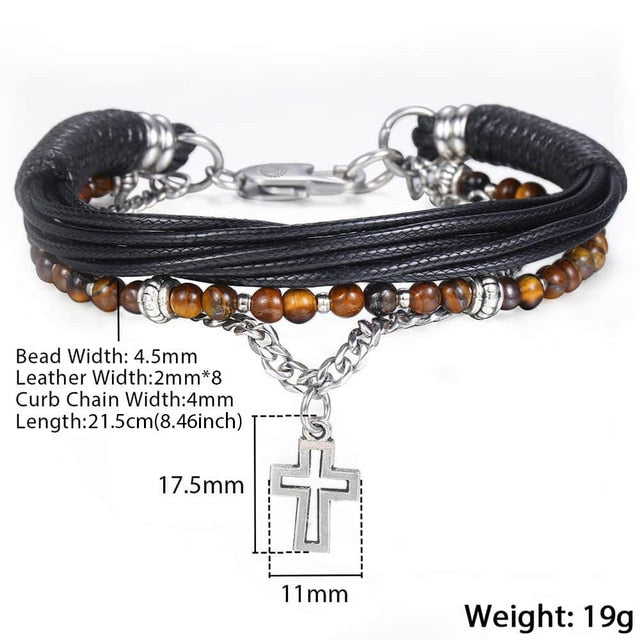 Bracelet, Trendy Natural Tiger Eye Beaded Stone Bracelet