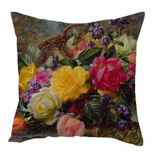 Cushion Cover, Vintage Flowers Oil Painting
