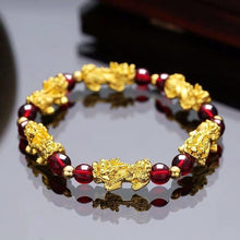 Load image into Gallery viewer, Bracelet, Vivid Traditional Pixiu Feng Shui Obsidian Beaded Stone Bracelet