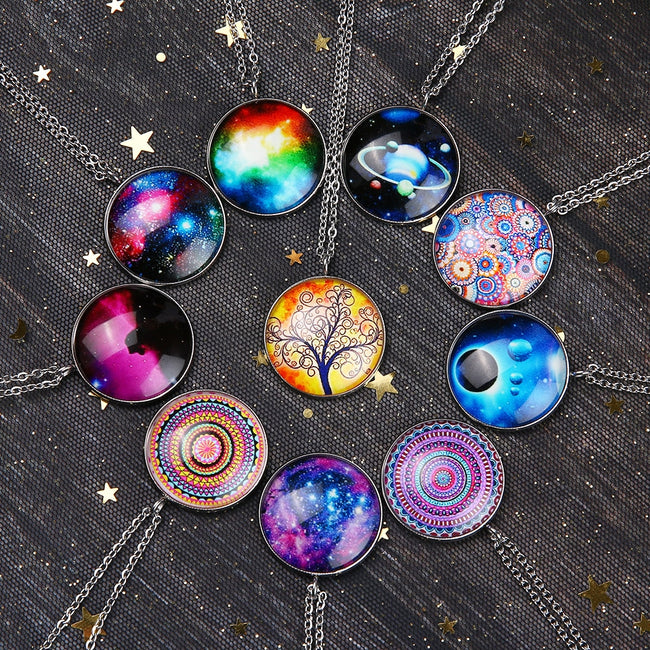 Necklace, New Nebula Planet Galaxy Vintage Pendant & Chain Necklace