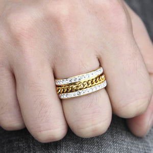 Ring, Iced Out Rhinestone Curb Link Chain Ring for Men