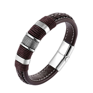 Bracelet, Vintage Stainless Steel Weave Genuine Leather Bracelet