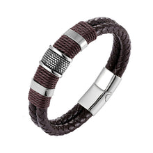 Load image into Gallery viewer, Bracelet, Vintage Stainless Steel Weave Genuine Leather Bracelet